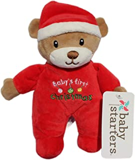 Baby Starters Teddy Bear Santa Plush Rattle Embroider My First Christmas 9 inch
