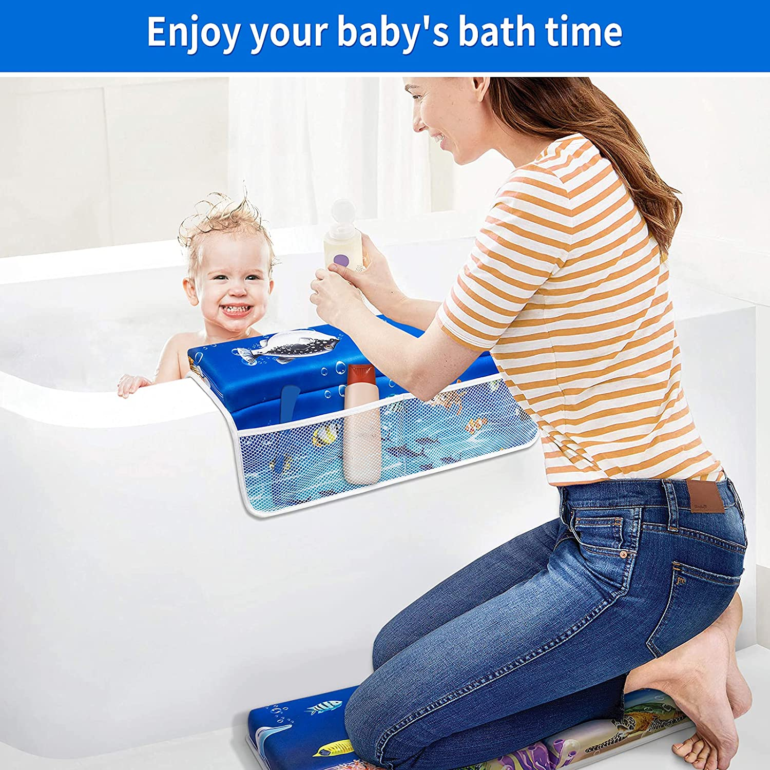 Bath Kneeler and Elbow Rest Pad Set, Bligli 1.5 inch Thick Kneeling Pad for Baby Bathtub-Arm Support Cushion with Toy Organizer for Happy Baby Bathing Time, Machine Washable | Cute Pattern
