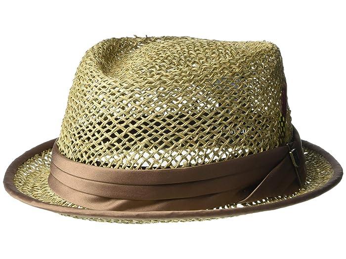 Brixton  Stout Straw Pork Pie (Tan) Traditional Hats