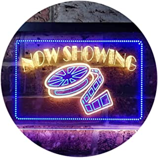 Now Showing Film Movie Home Theater Dual Color LED Neon Sign Blue & Yellow 400 x 300mm st6s43-i0650-by