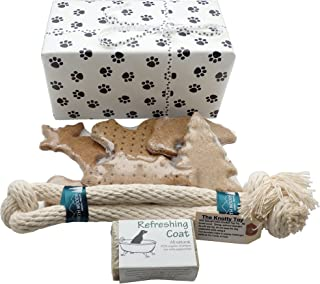 Pampered Puppy Welcome Box - Made in NH Treats Tug Toy and Refreshing Shampoo - In Paw Print Wrapped Box
