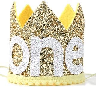 Baby'sSunshineCrownfor1stBirthday-First Birthday for You areMySunshine Crown,BirthdayGetTogetherforDecorations,PhotoPropsforBirthdayParty,Birthday Souvenir Gifts(Golden)
