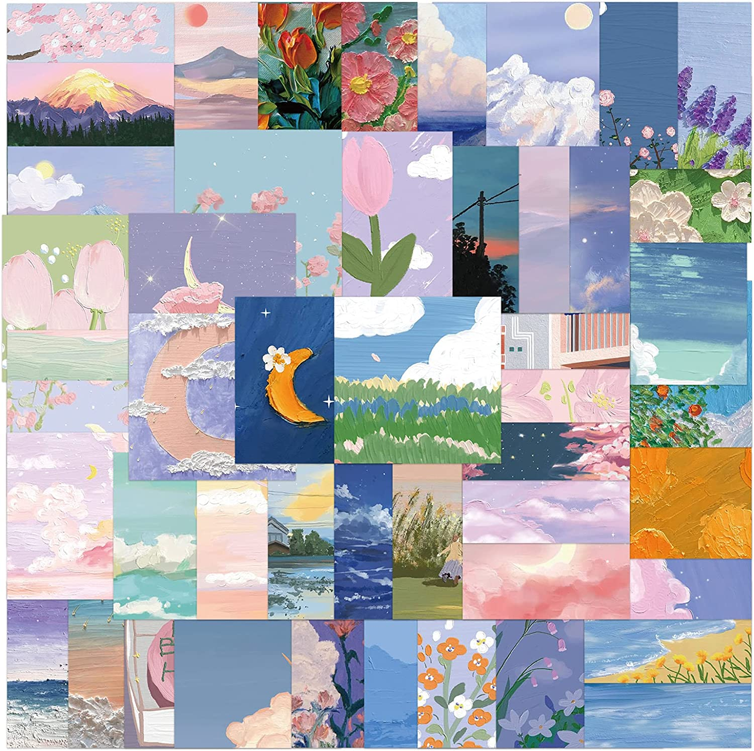 MTOP Landscape Oil Painting Stickers, 56pcs Vinyl Waterproof Stickers for Laptop, Water Bottles, Bumper,Computer, Phone, Stickers and Decals