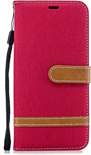 Reevermap Samsung Galaxy A10E Case Flip  Shockproof Card Wallet Holder Leather Patched Denim Magnetic Phone Cover with Kickstand for Samsung Galaxy A10E  Red