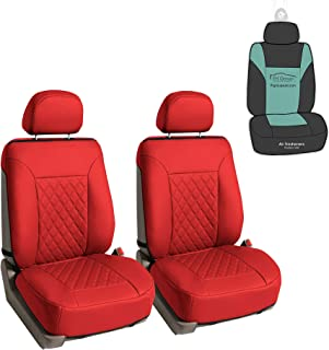 FH Group PU089102 Deluxe Faux Leather Diamond Pattern Car Seat Cushions (Red) Front Set - Universal Fit for Cars Trucks and SUVs