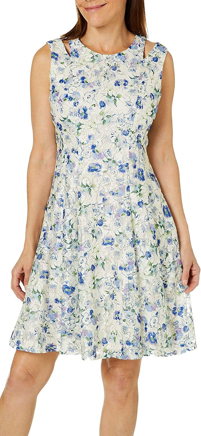 Gabby Skye Women's Floral Printed Lace Fit and Flare Dress