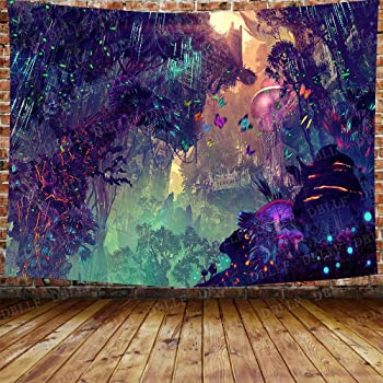 Mushroom Castle Forest Tapestry Psychedelic Wall Hanging Tapestry Home Decor
