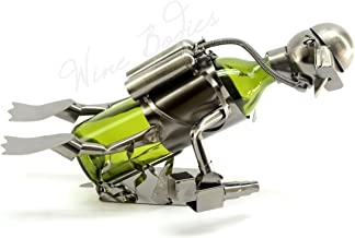 WINE BODIES ZB925 Scuba Diver Metal Wine Bottle Holder Character, Charcoal