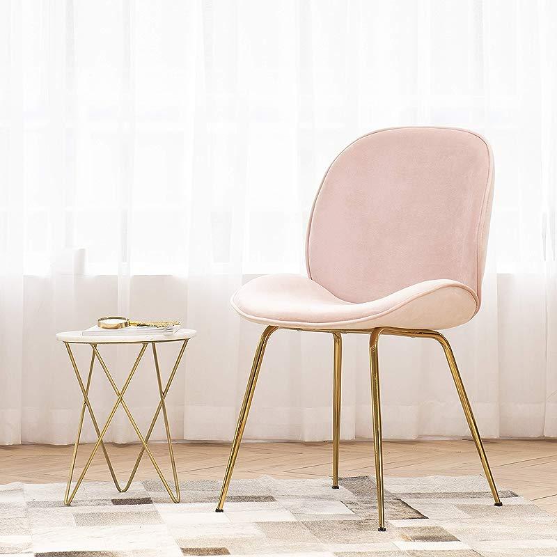 Art Leon Velvet Chair Soft Upholstered Modern Shell Beetle Leisure Chair With Golden Legs For Living Dining Room Vanity Stool For Bedroom Dresser Sakura Pink
