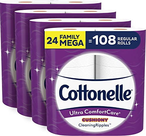 Cottonelle Ultra ComfortCare Toilet Paper with Cushiony CleaningRipples, 24 Family Mega Rolls, Soft Bath Tissue (24 F...