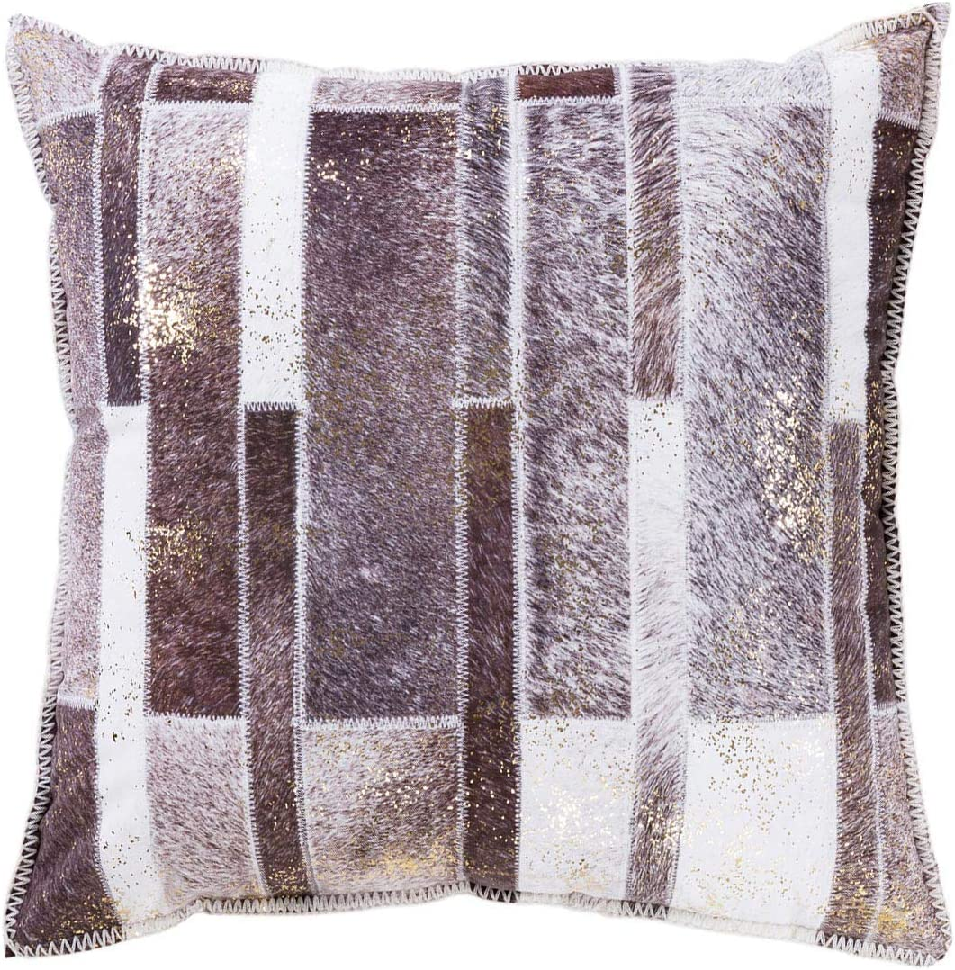 DECOMALL Luxury Faux Fur Leather Decorative Throw Pillow Cover Patchwork Geometric Print Designer Soft Pillow Case 20x20 Cover Only Dark Brown