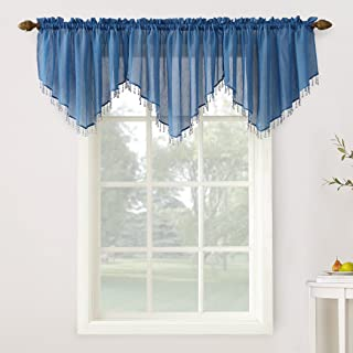 No. 918 Erica Collection Crushed Sheer Beaded Curtain Valance, 51