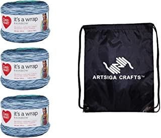 Red Heart Knitting Yarn It's A Wrap Rainbow Nautical 3-Skein Factory Pack (Same Dyelot) E862-9938 Bundle with 1 Artsiga Crafts Project Bag