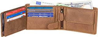 DiLoro Italy Full Size Mens Leather Wallet Bifold Flip ID Zip Coin Wallets with RFID Protection