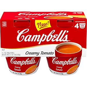 Campbell's Creamy Tomato Soup, Microwavable Cup, 7 Oz, 4 Count, Pack of 4