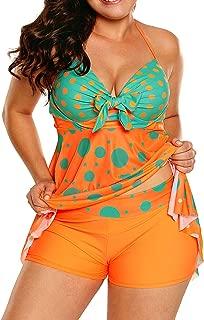 Sidefeel Women Cute Polka Dot Print 2pcs Tankini Swimsuit