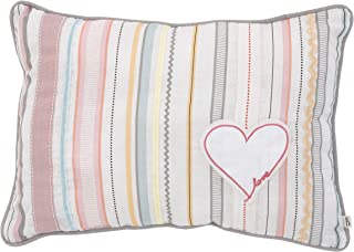 ED Ellen DeGeneres Cotton Tail - Soft 100% Cotton Multi Color Ribbon Stripe with Heart Applique Decorative Pillow, Rose, Ivory, Aqua, Coral
