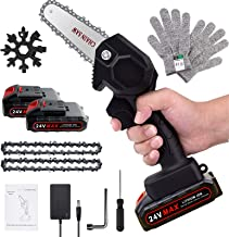 Mini Chainsaw, 4-Inch Rechargeable Mini Lithium Chainsaw with 2 Batteries, Cordless Mini Electric Chainsaw for Courtyard T...
