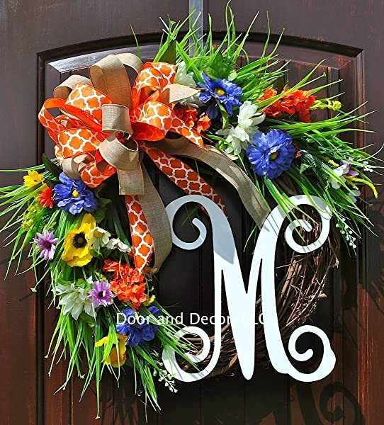 Handmade Front Door Monogram Wreath With Your Choice Of Monogram And Bow With Wildflowers And Poppies In Blue Yellow And Orange In 20 Inch Diameter