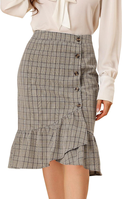 Allegra K Women's Wrap Skirts Plaid Button Closure Mermaid Ruffle Fishtail Skirt