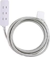 Cordinate Designer 3 Polarized Outlet Extension Cord with Surge Protection, Gray, Braided Décor Fabric Cord, 10 ft, Low-Profile Plug with Tamper Resistant Safety Outlets, 37911