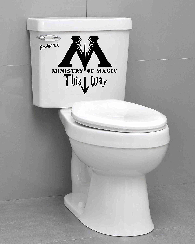 ZENING Autocollant en vinyle pour abattant de toilettes Motif Ministry of Magic This Way 29 x 24 cm