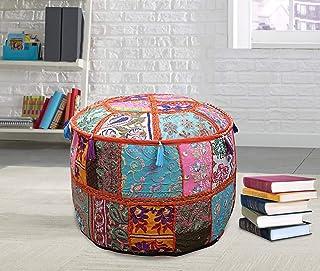 Puf redondo indio de retazos otomanos decoración de piso, taburete vintage para sillas de estilo hippie, hecho a mano, estilo vintage, para decoración del hogar