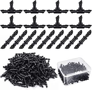 Zonon 200 Pieces Drip Irrigation Fittings Kit with Plastic Box, 100 Barbed Couplings 100 Tees Fittings Barbed Connectors f...