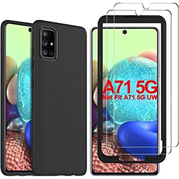 GESMA Case and Screen Protector Compatible with Samsung Galaxy A71 5G, [1 Case+2 Screen Protector+1 Tray] Scratch Resistant Case Tempered Glass Compatibal for Samsung Galaxy A71 5G SM-A716(Black)