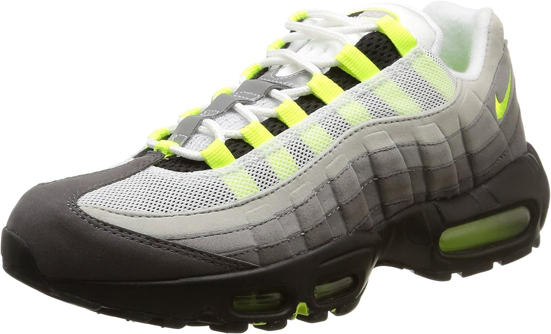 Amazon.com | Nike Mens Air Max 95 OG Black/Volt-Medium Ash Suede ...