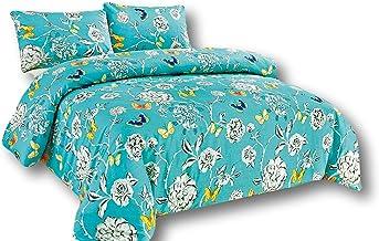 Tache Home Fashion Tache Wonderland 3 Piece Colorful Duvet Set, Cal King, California, Aqua Floral Butterfly
