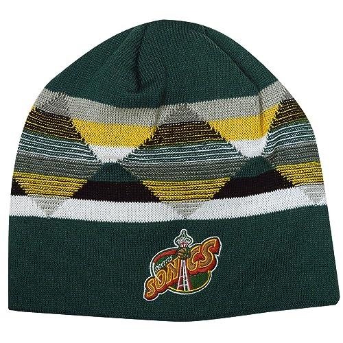 d4fc3d18 Mitchell & Ness Seattle Supersonics Diamond Inlay Beanie Knit Hat