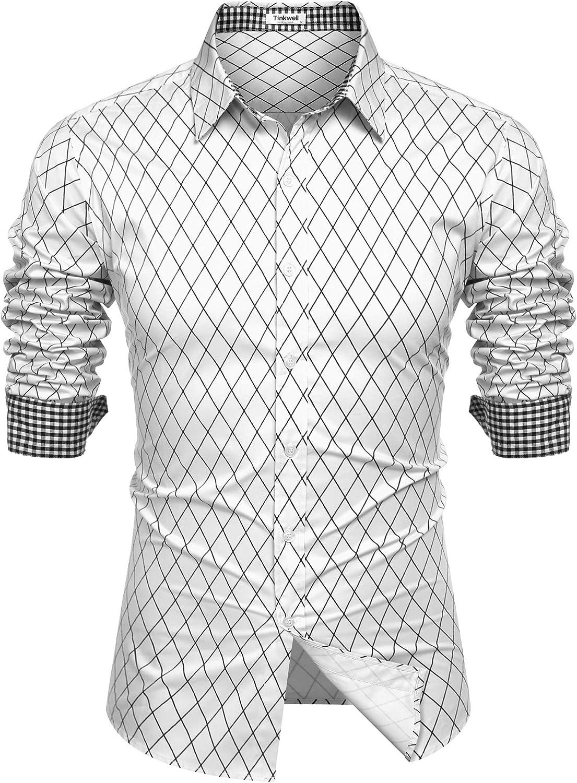 Tinkwell Spasm price Men's Casual Dress Shirt depot Button S Regular fit Down Long