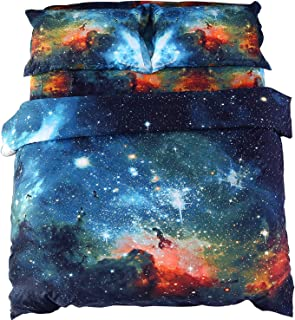 Ammybeddings 4 Pieces Teens 3D Blue Galaxy Space Bedding Sets Queen Size Girls Space Duvet Cover Bed Sets 1 Flat Sheet 1 Q...