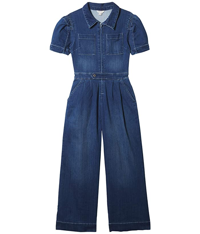 1940s Children's Clothing: Girls, Boys, Baby, Toddler HABITUAL girl Henley Puff Sleeve Jumpsuit Big Kids Indigo Girls Jumpsuit  Rompers One Piece $41.58 AT vintagedancer.com