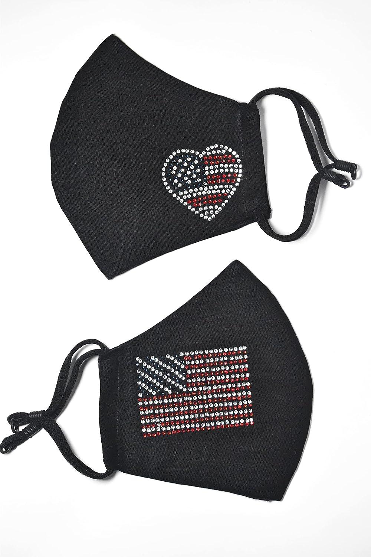 Set Phoenix Award Mall of 2 Masks USA Flag Mask Face Gli Bling Rhinestone