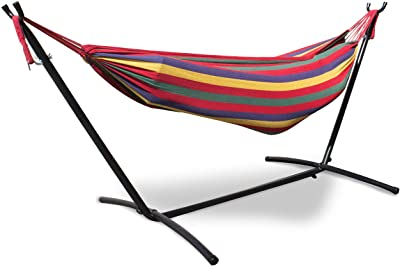 Mototeks Double Hammock with Steel Stand and Carry Bag for Garden Deck Yard Campsite Indoor Outdoor Use Comfort Durability Striped Large Hanging Chair (Red)
