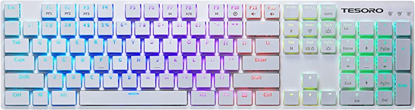 Tesoro Gram XS G12ULP Red Ultra-Slim Mechanical Switch Chicklet Style Beycap Full Color RGB LED Backlit Illuminated Mechanical White Ultra-Low Profile Keyboard TS-G12ULP W (RD)