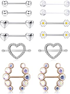 6 Pairs Nipple Rings Stainless Steel Tongue Ring CZ Barbell Heart Shape Rings Body Piercing Jewelry 14G