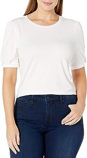 Daily Ritual Camiseta de Manga Larga Ancha de rayón y Elastano, canalé Ancho Camisa para Mujer
