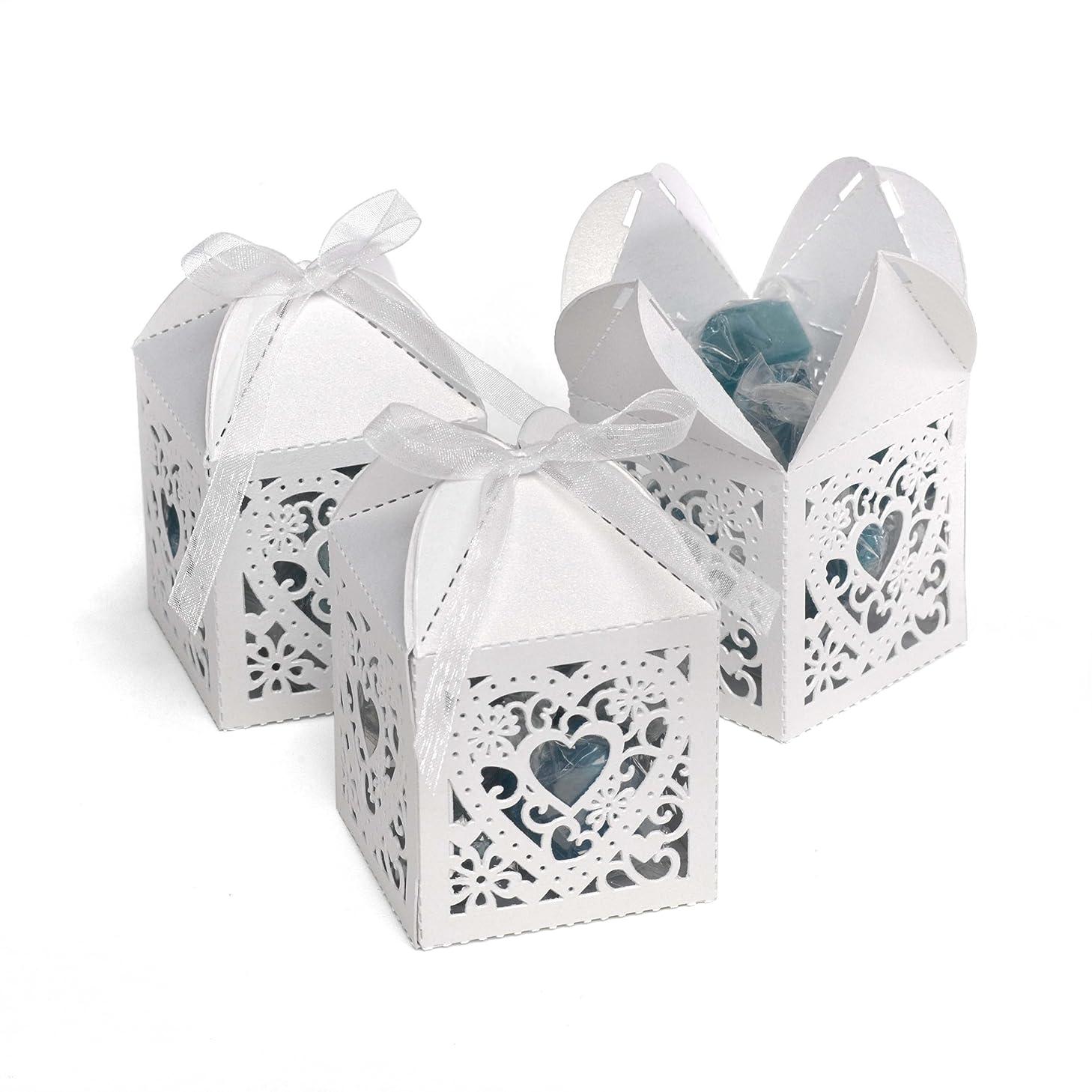 Hortense B. Hewitt Wedding Accessories 2-Inch Die Cut Decorative Favor Boxes, 25 Count, White