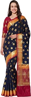 Viva N Diva Women`s Navy Blue Color Banarasi Art Silk Saree with Unstitched Blouse Piece.