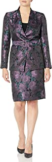Tahari ASL Women's Floral Jacquard Belted Collarless Jacket and Skirt Set