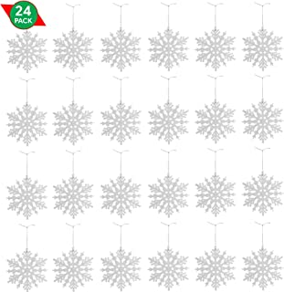 Ornativity White Glitter Snowflake Ornaments - Holiday Wedding Plastic Sparkling Hanging Snowflakes – Pack of 24