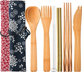Boao 2 Sets of Reusable Bamboo Utensils Travel Cutlery Set with Case, Forks Knives Chopsticks Spoons Straws and Brushes, Camping Flatware Set (Pattern 1)