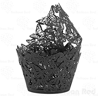 Butterflies Artistic Filigree Lace Laser Cut Cupcake Wrappers Muffin Case, Pack of 24, Black