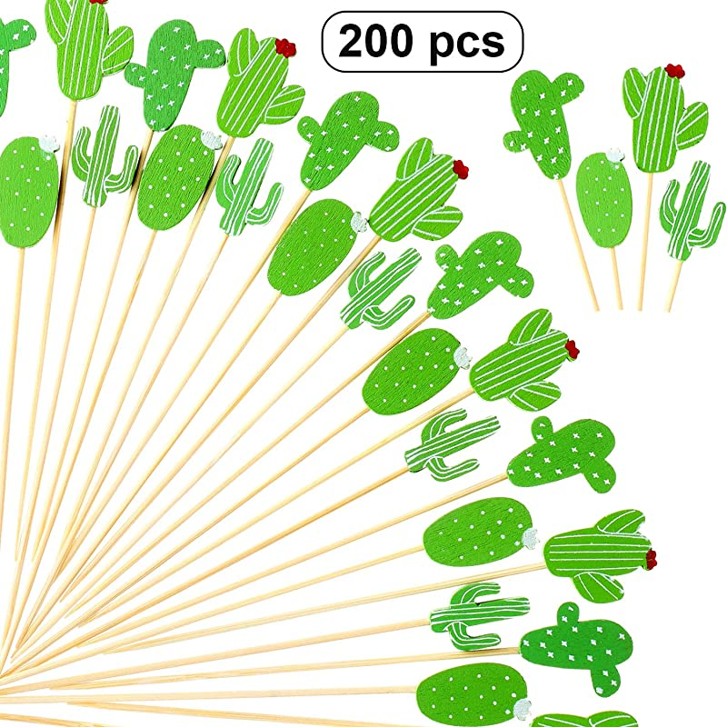 200 Pieces Cactus Cocktail Picks 4 7 Inch Bamboo Toothpicks For Fiesta Party Mexican Theme Party Tropical Birthday Party Supplies