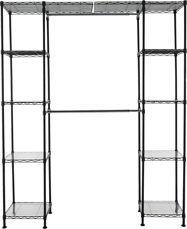 AmazonBasics Expandable Closet Organizer - 14  x 58  Expands to 63  x 72 , Black