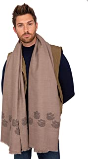 likemary Mens Merino Wool Blanket Scarf Oversize Muffler & Travel Wrap Handwoven with Crosses 100 x 200cm