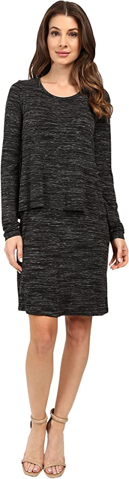 Space Dye Rayon Spandex Jersey Long Sleeve T-Shirt Overlay Dress